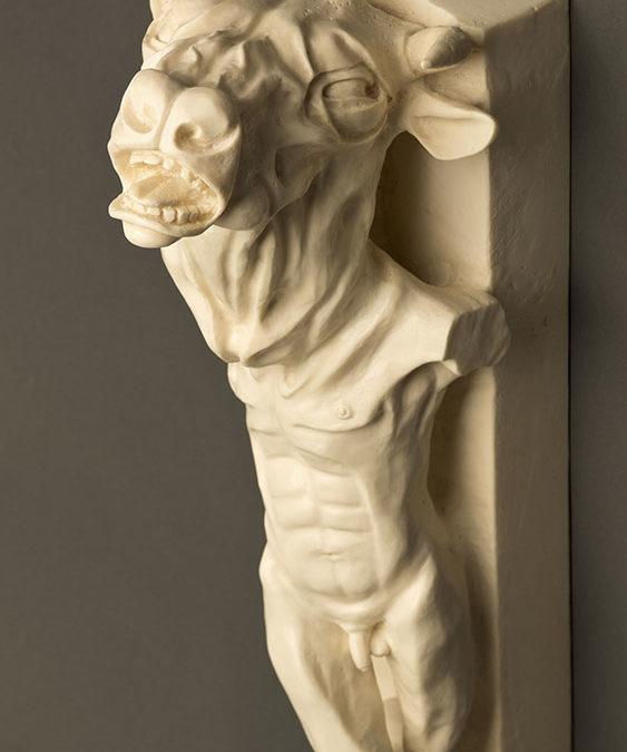 Minotaur, 6.5″ x 7″ x 18″, carved kiln cast glass, 2014