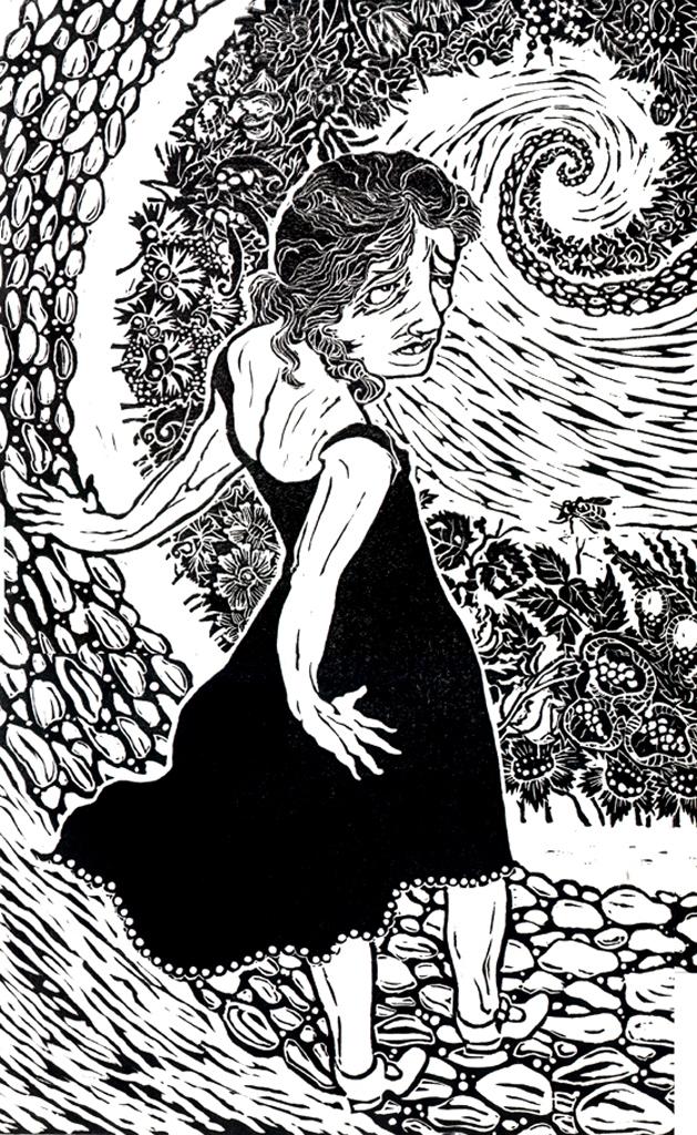 SWAN DIVE, LINOLEUM CUT, 12″ × 19″, 1996