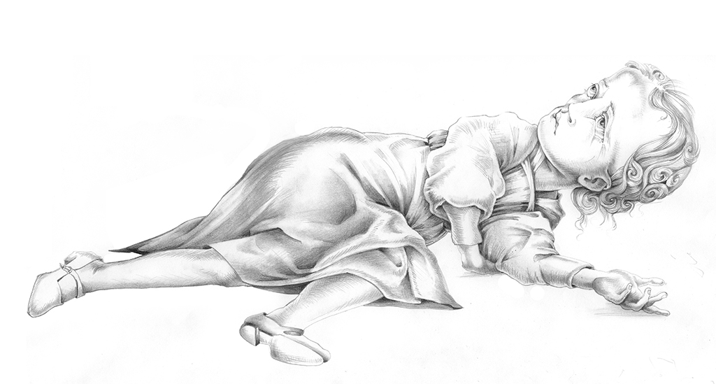 Fallen Girl, graphite, 18″ × 12″, 2007