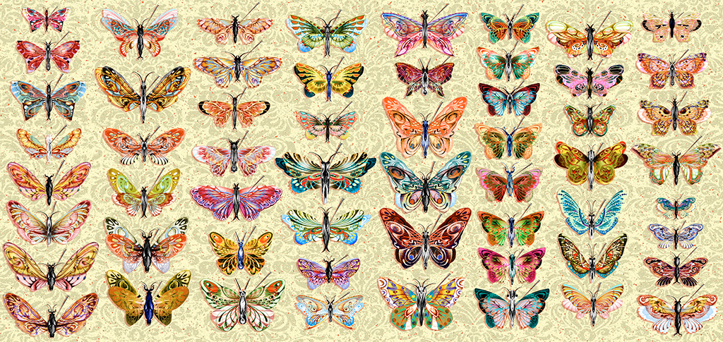 "BUTTERFLY COLLECTION, PIGMENT PRINT, 60"" X 30"", 2006"