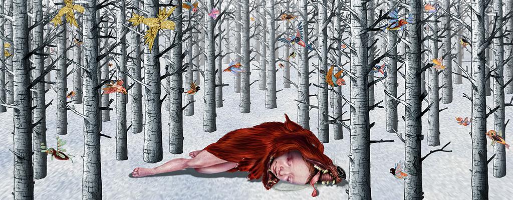 "FERAL CHILD, PIGMENT PRINT, 60"" X 25"", 2010"