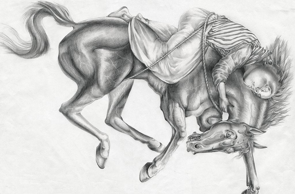 """Ride of Mazeppa, graphite, 2014, 18"""" x 24"""""""