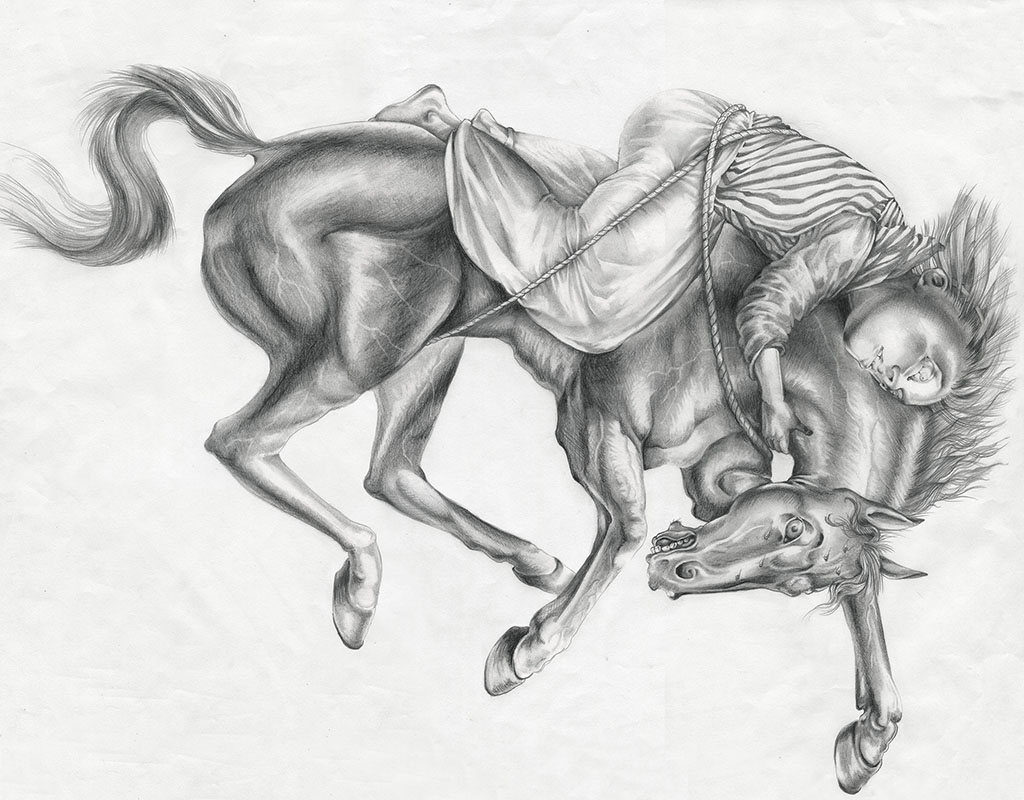 "Ride of Mazeppa, graphite, 2014, 18"" x 24"""