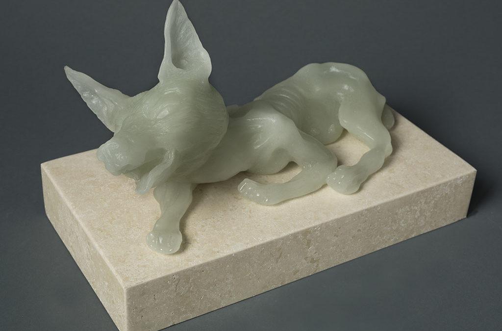 Female Dog, 13″ x 7″ x 10″, carved kiln cast glass, 2014