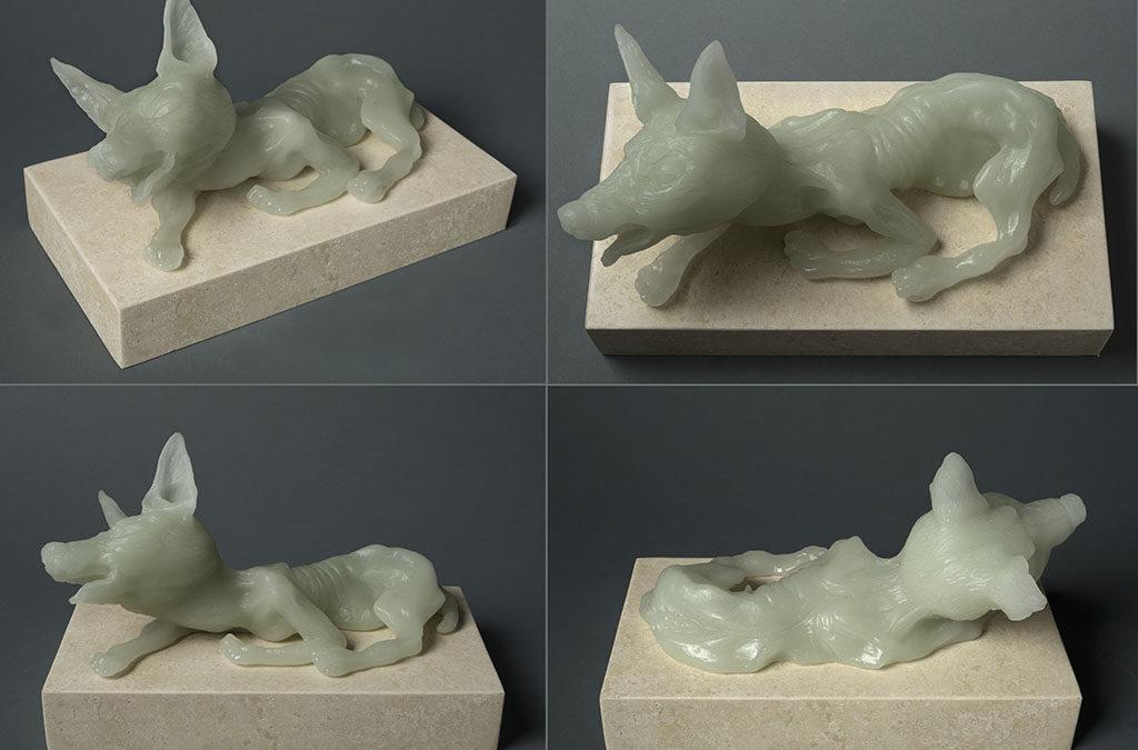 Female Dog, (four views) 13″ x 7″ x 10″, carved kiln cast glass, 2014