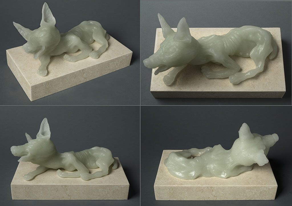Female Dog, (four views) 13″ x 7″ x 10″, carved kiln cast glass, 2014