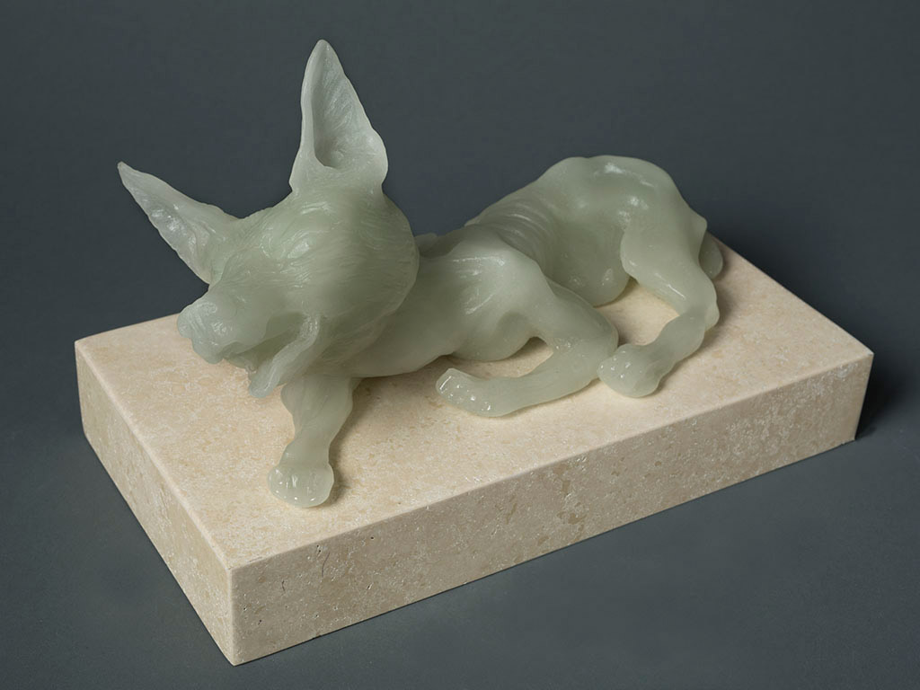 FEMALE DOG, 13″ X 7″ X 10″, CARVED KILN CAST GLASS, 2014