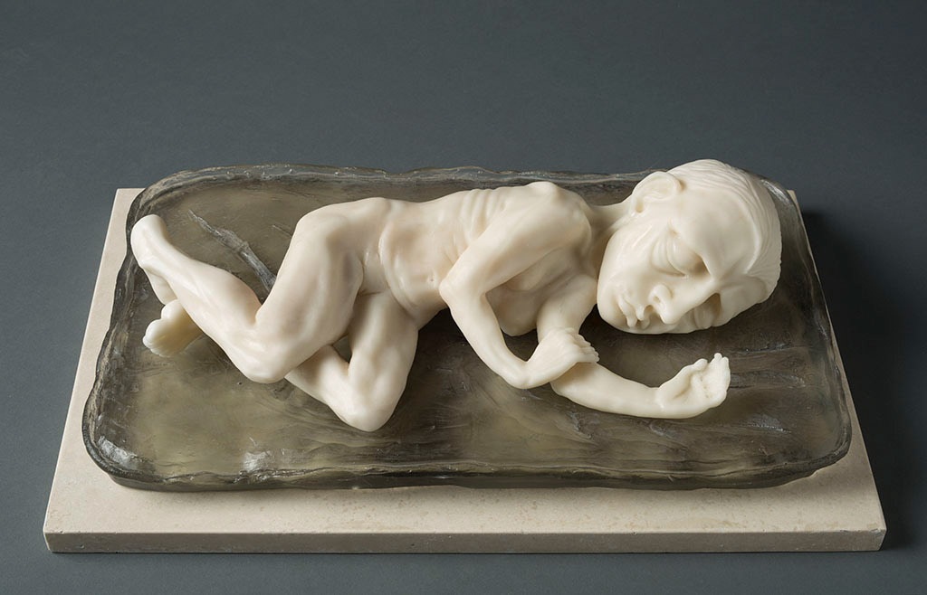 SLEEPING GIRL, 17″ X 11″ X 6″, CARVED KILN CAST GLASS, 2014