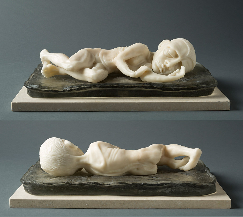 SLEEPING GIRL, (TWO VIEWS) 17″ X 11″ X 6″, CARVED KILN CAST GLASS, 2014